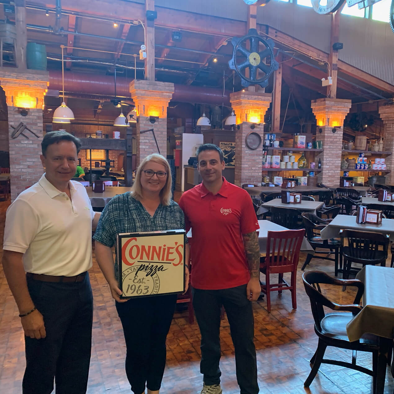 Dining in at Connie's Pizza